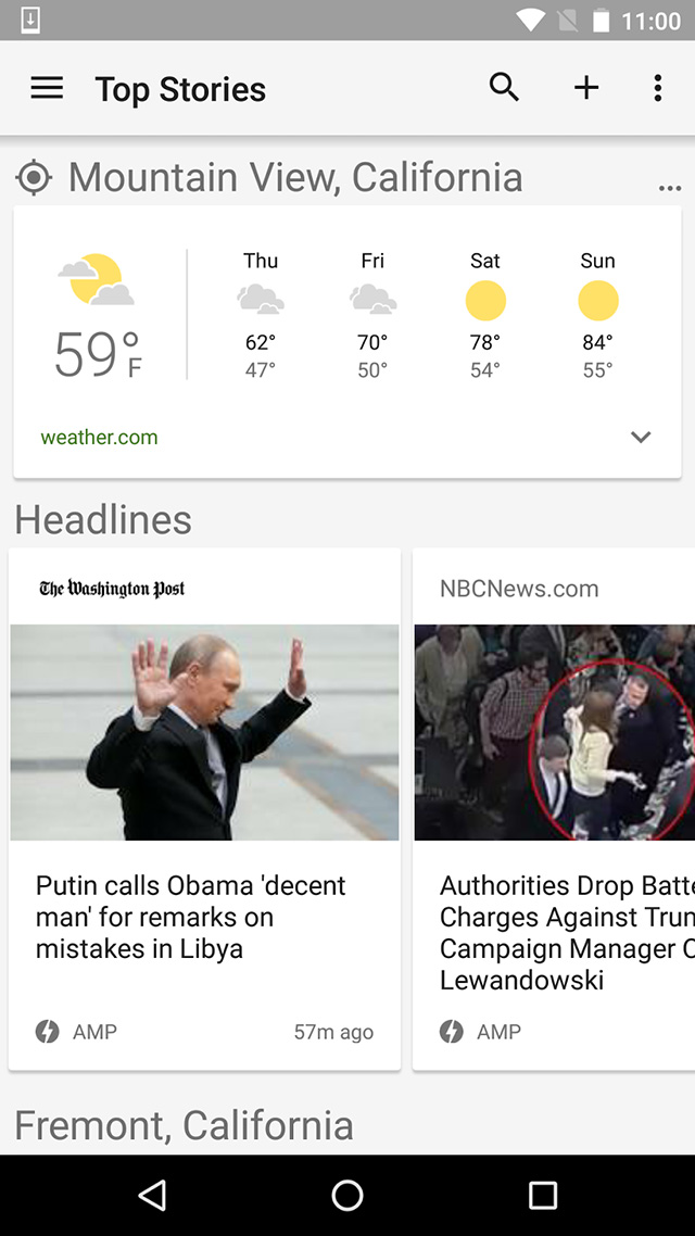 Google news page AMP sur Android