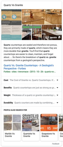 Featured Snippet thématique: Granit VS Quartz