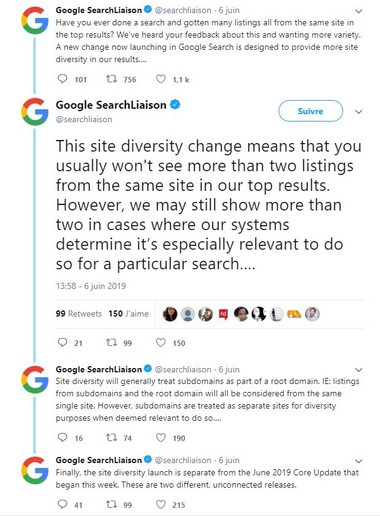 Tweet site Diversity Update June 2019 Google par Referenceur